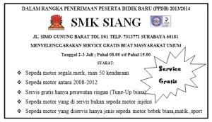 Service Gratis Dalam Rangka PPDB